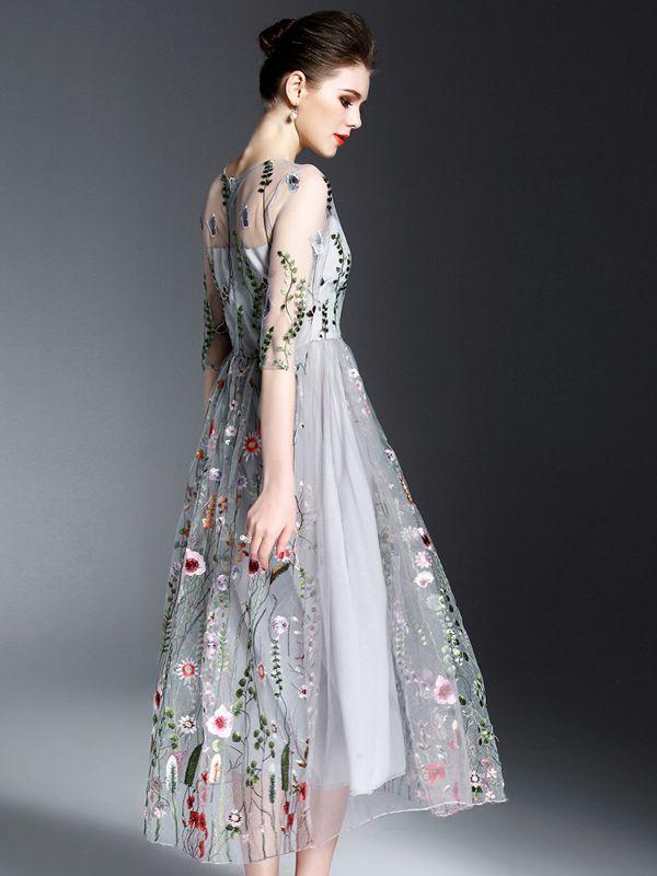 Grey Mesh Paneled Embroidered Floral Midi Dress