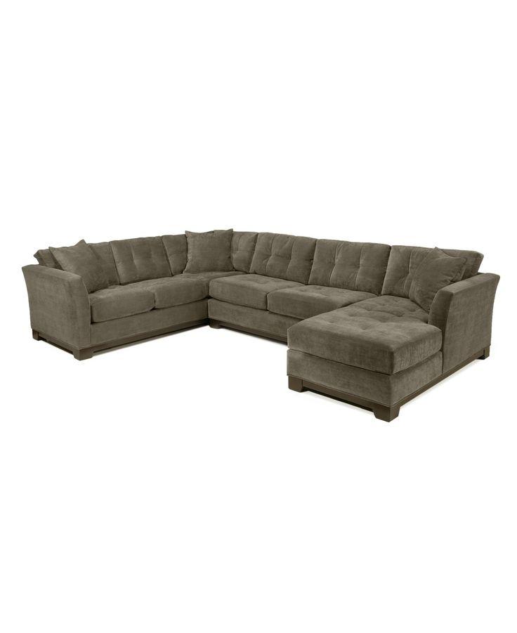 Elliot fabric microfiber 3 piece chaise sectional sofa for 4 piece sectional sofa microfiber