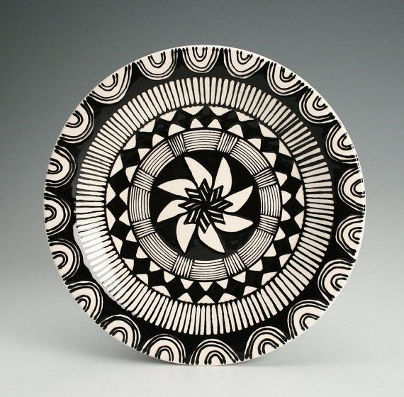 Mandala Plate Hand Painted Black and White by owlcreekceramics, $21.00