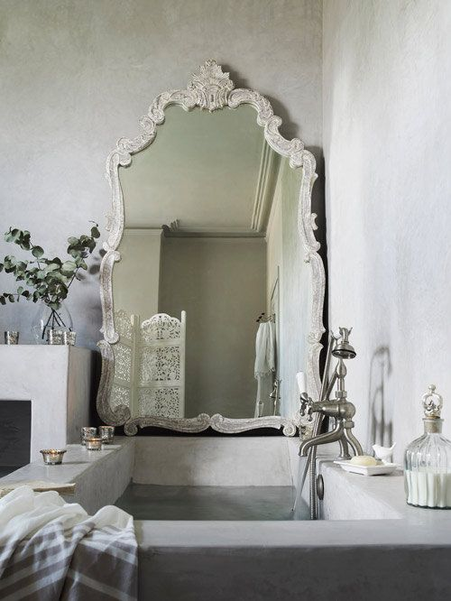Stone tub, large mirror, pale grey, bathroom design ideas modern bathroom design
