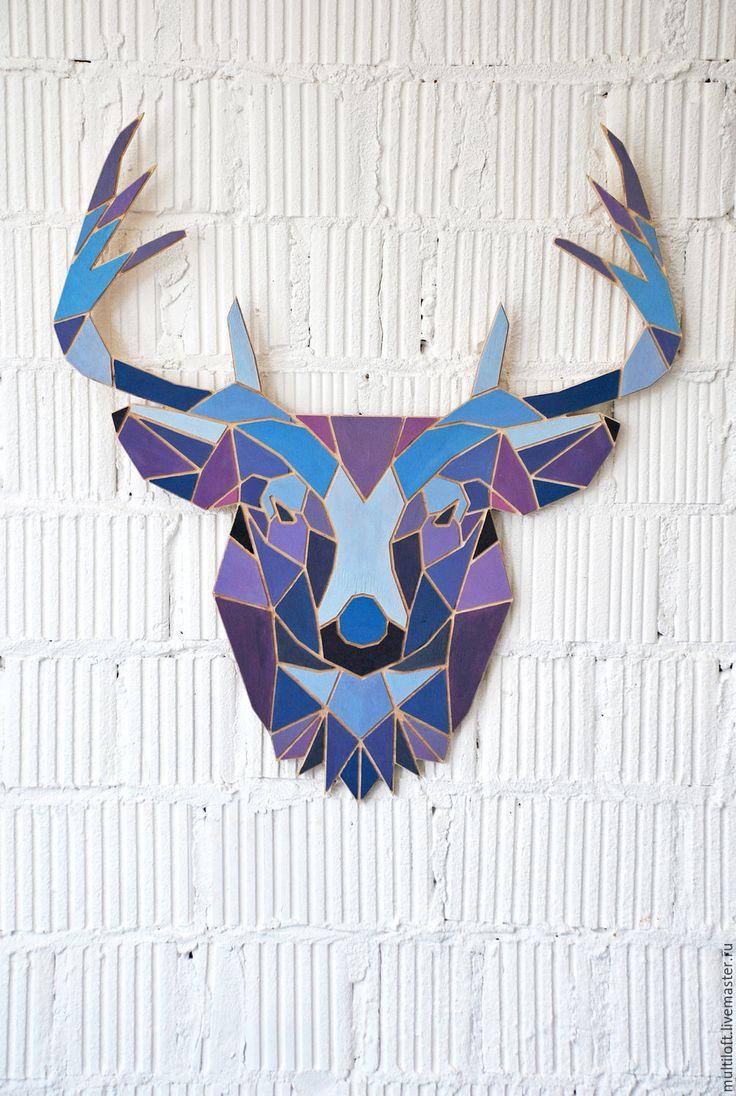 Wooden panel Deer | Купить Панно Олень (цветной) - комбинированный, дерево, олень, оленьи рога, олень игрушка, лось