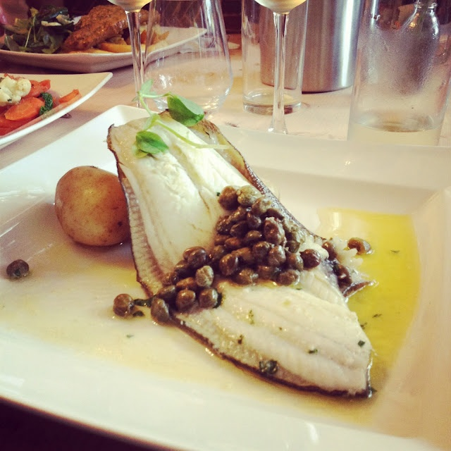 Dorset Girl - plaice fillet with caper butter, new potatoes and salad