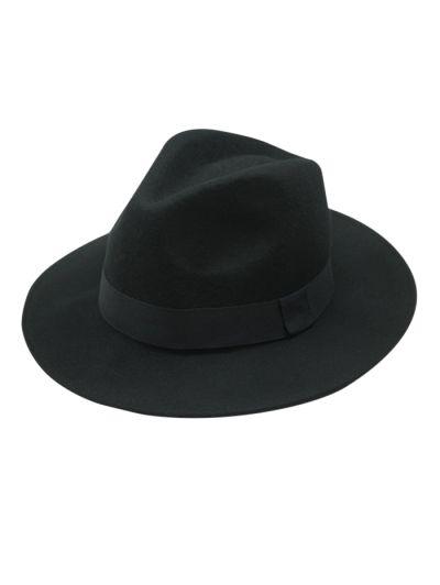 Vintage Felt Fedora Hat - BLACK  Mobile