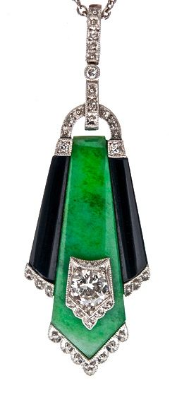 Art Deco Jade, Onyx, Diamond Pendant