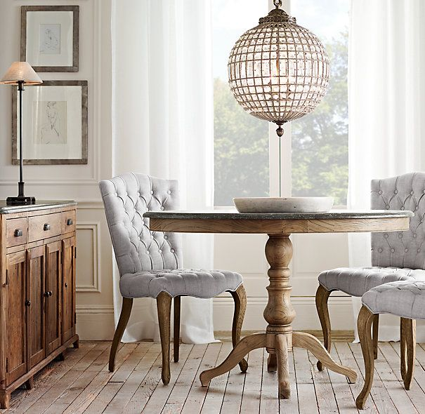 RHu0027s 1840 Bluestone Pedestal Dining Table:Inspired By A French Antique, Our  Oval Dining Table Pairs Bluestone With A Hand Carved Reclaimed Pine  Pedestal ...