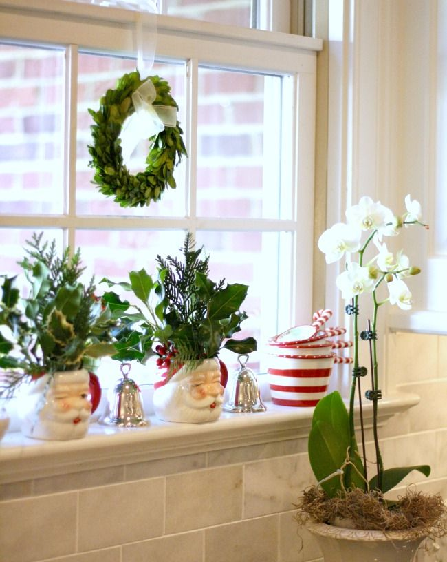 Shop the Look - Holiday Kitchen Window with Santa Mugs and Silver Bells