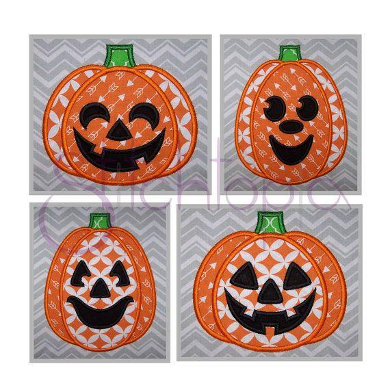 Halloween Jack O Lantern Applique Set  Digital by StitchtopiaInc