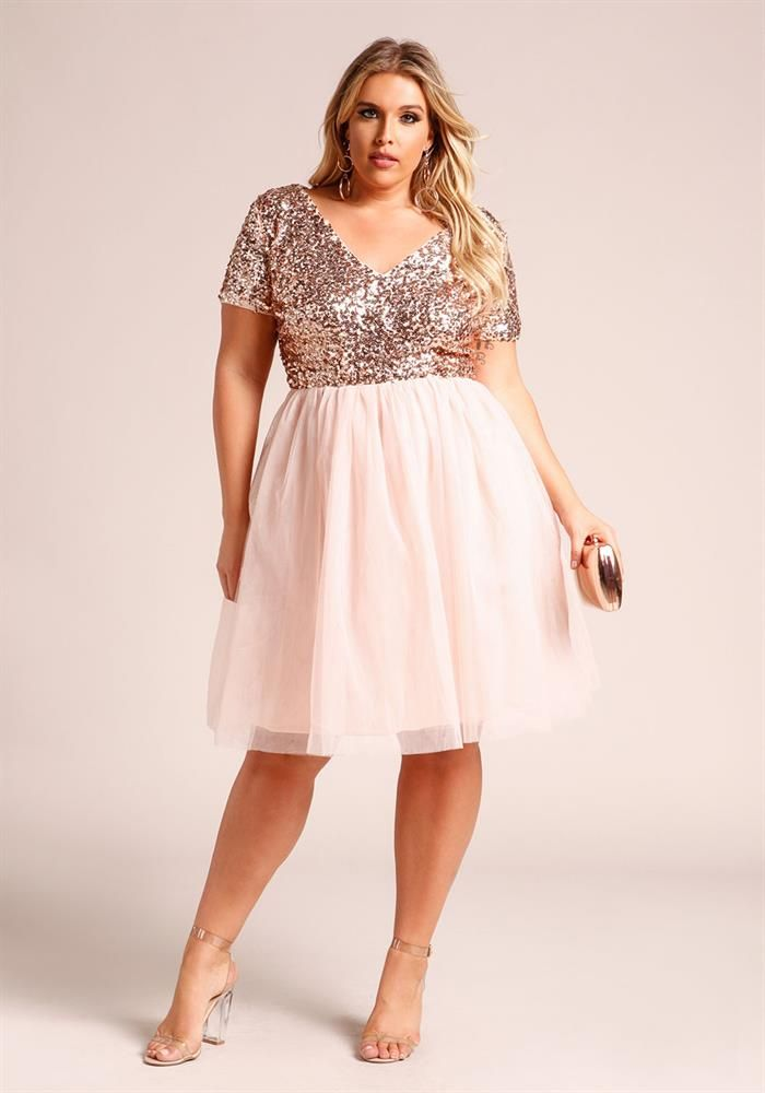 Plus Size Clothing | Plus Size Sequin Tulle Flared Dress | Debshops ...
