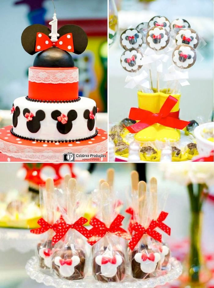 Minnie Mouse themed birthday party via Kara's Party Ideas KarasPartyIDeas.com Invitation, food, decor, cake, cupcakes, printables and more! ...