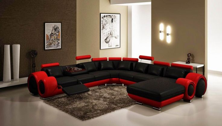 Download Minimalist Interior Design  Decorating With Black Red Modern Contemporary Corner Recliner Loveseat And Chaise With Adjustable Headrest Grey Rag Rug Small Console Table Design Ideas HD Wallpapers