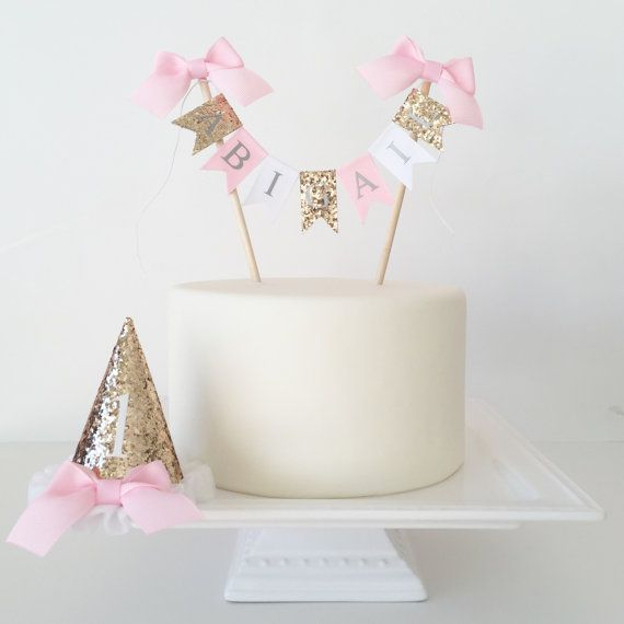 Cake smash photography prop set of cake topper and birthday hat in gold glitter, pink and white.    Personalize your little ones smash cake
