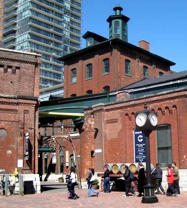 The Distillery District is a TORONTO gem, spread over ten streets and 13 acres (52,000 square metres).  It's the largest Victorian era collection of industrial architecture in North America.  Within the District are more than 40 heritage buildings and 10 streets.    The Gooderham and Worts Distillery was founded in 1832, and by the late 1860's was the largest distillery in the world.  Along with neighbouring factories, the railway, and the Don River, this was the industrial heart of TORONTO