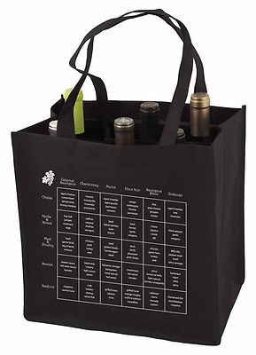 Reusable 6 Bottle Black Wine Tote Bag Food Wine Chart w Storage Compartments | eBay