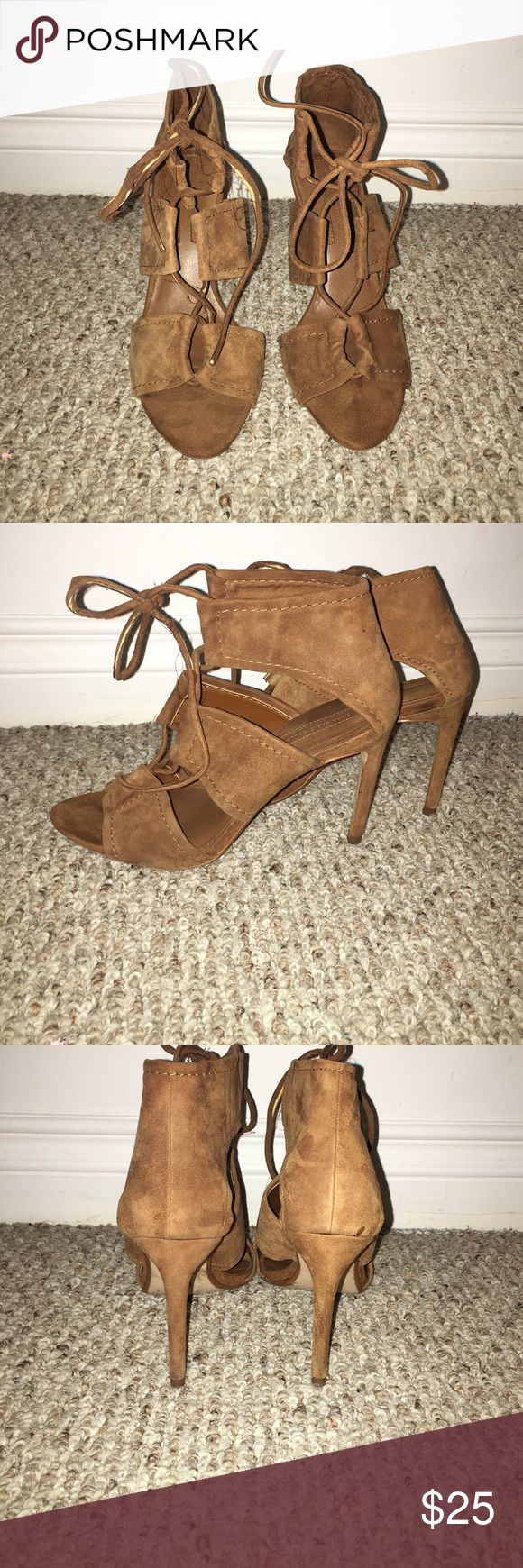Zara suede shoes Very sexy and gladiator inspired heel. Will need new laces. Very flattering on olive skin tones or a nice tan... 🌞🌞🌞 Zara Shoes Heels