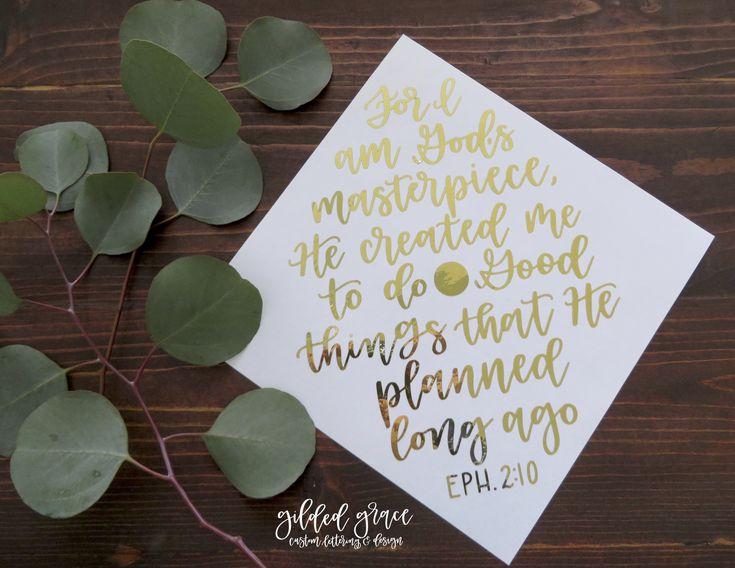 For I am God's masterpiece // Custom Graduation Calligraphy // Quote, Hat, Graduation, Handwriting, Italic, Decor, Decorations, Gold, Personalized ...