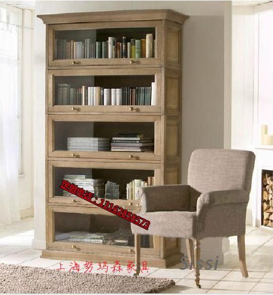 Французский ретро страна дуб книжный шкаф, чтобы сделать старый оригинальный сингл Экспорт американской стране минималистский современный деревянный книжный шкаф - Taobao