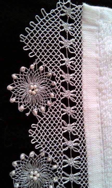 beaded needle lace 'oya'