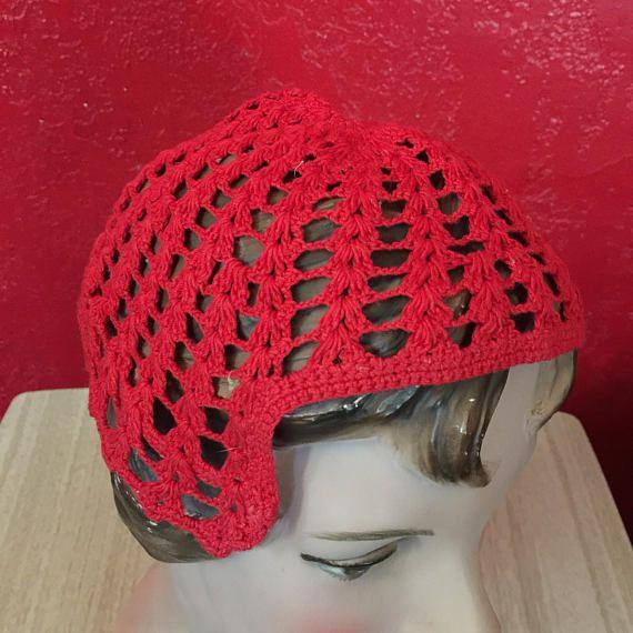 Vintage Crochet Child's Skull Cap Bright Red Hat