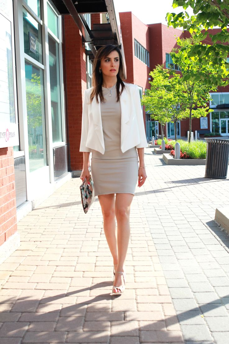 Milly  Nathalie wearing a Milly white blazer. Perfect for work!