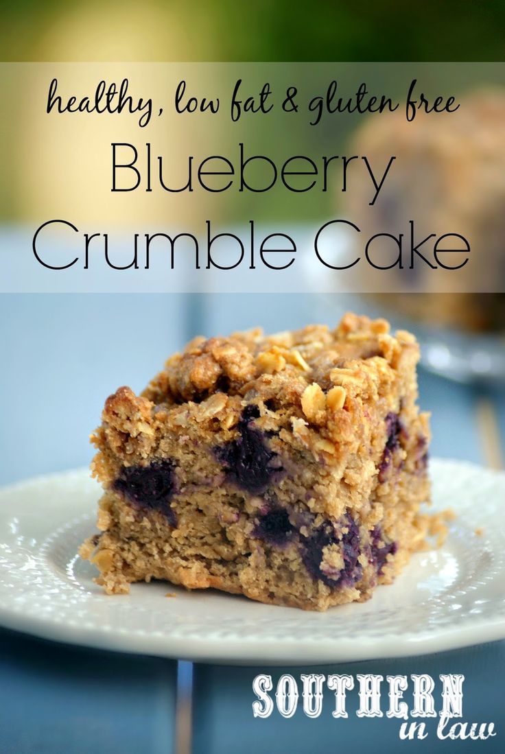 Healthy Blueberry Crumble Cake Recipe - gluten free, low fat, lower sugar, vegan, dairy free, egg free