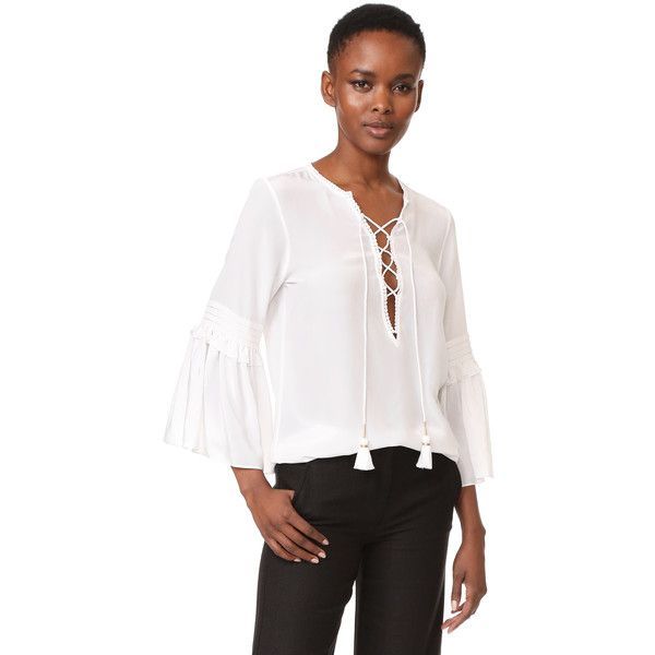 Figue Poet Top (1.070.400 COP) ❤ liked on Polyvore featuring tops, blouses, clean white, white bell sleeve top, white ruffle blouse, crochet blouse, boho blouse and white boho top