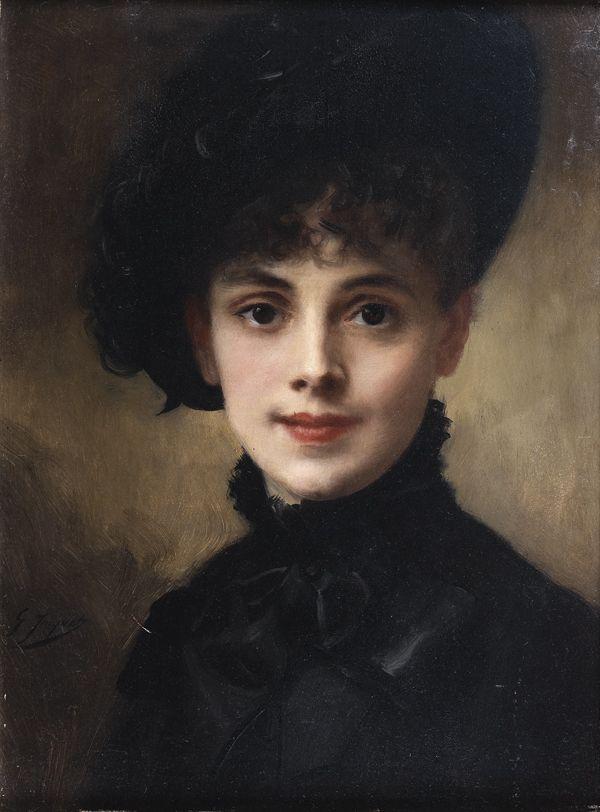soyouthinkyoucansee:  Portrait de femme au chapeau noir.  Portrait; Woman with a black hat  Gustave Jean Jacquet  1880