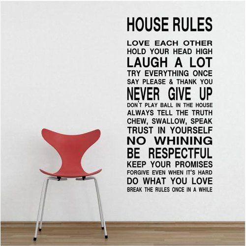 MZY LLC (TM) House Rules Love Each Other Hold Your Head High Laugh a Lot Removable Wall Art Decal Sticker Decor Mural DIY Vinyl D__cor Room Home ** See this awesome image  : home diy improvement