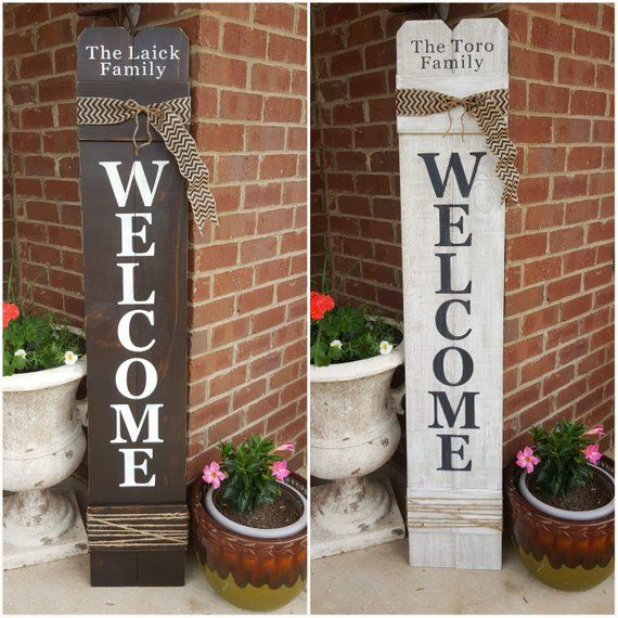 Painted Wood Welcome Sign With Burlap Ribbon And Jute Rope Reclaimedwoodsigns Rusticwoodsigns Welcome Signs Front Door Front Porch Decorating Door Signs Diy