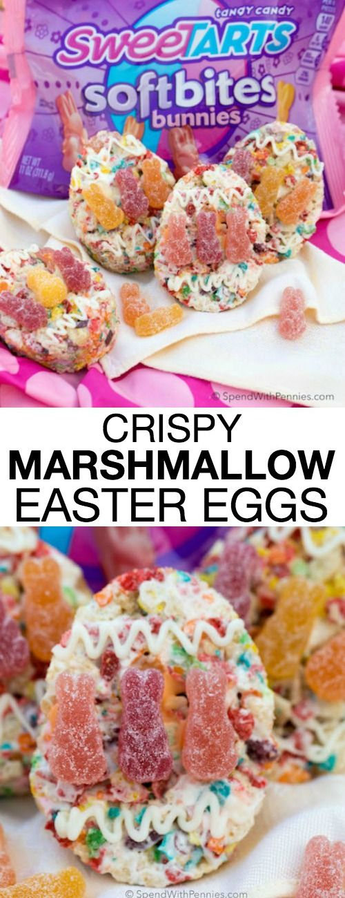 These fruity no bake Crispy Marshmallow Eggs are a springtime favorite with a yummy fruity flavor, extra marshmallows and SweeTARTS Soft Bite Bunnies for the perfect texture!  They're deliciously easy, fun to make and are the perfect treat to bring along to all of your Easter festivities! #ad