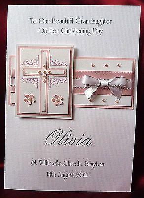 Personalised Handmade Christening Card Girl Granddaughter Goddaughter (1539Pink) in Crafts, Cardmaking & Scrapbooking, Hand-Made Cards | eBay