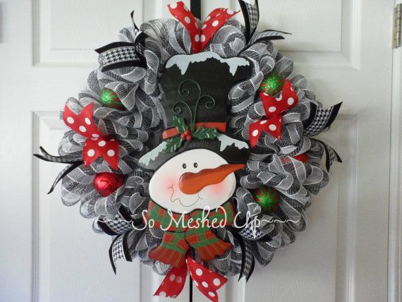 Christmas/Winter deco mesh wreath with an adorable snowman in the center! 02
