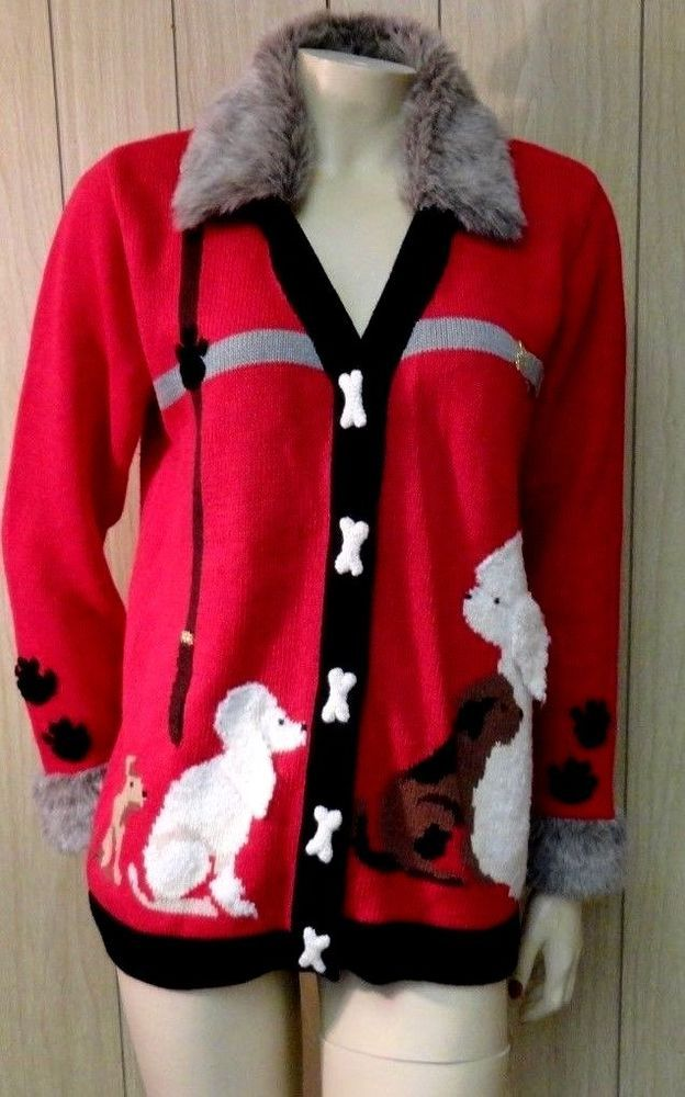 ~STORYBOOK KNITS Poodle Dogs ~Bones & Paws~Red Cardigan Sweater Faux Fur Sz S #StorybookKnits #Cardigan #Work