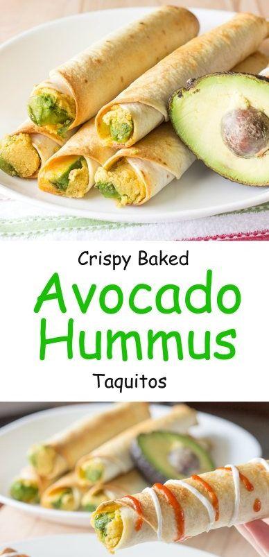 Crunchy Baked Avocado & Hummus Taquitos