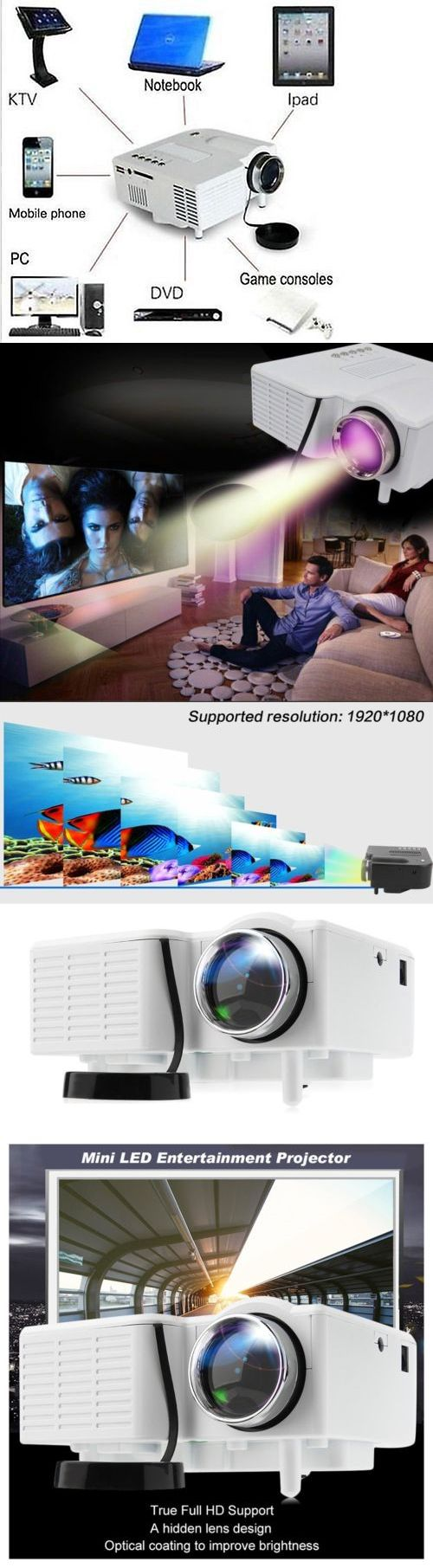 Home Theater Projectors: 1080P Mini Hd Led Projector Home Cinema Theater Multimedia Pc Usb Tv Av Hdmi Dvd -> BUY IT NOW ONLY: $34.85 on eBay!