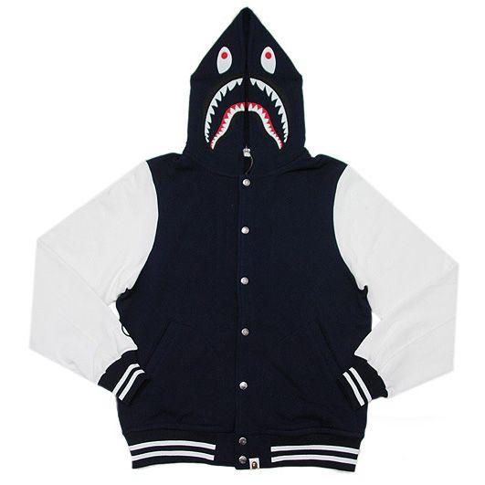 Bape Men's Shark Stadium Black Hoodie Varsity Jacket