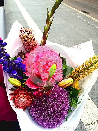 A colorful bouquet of tulips format, lilies ,dahlias, Hydragea spp