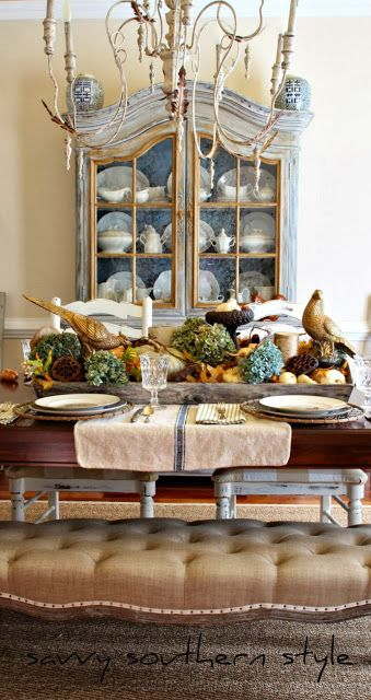 Savvy Southern Style: Traditional Thanksgiving tablescape. Love the mis-matched dinnerware!