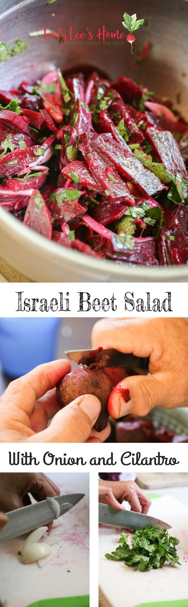 Beet salad with onion and cilantro.  Less onion.