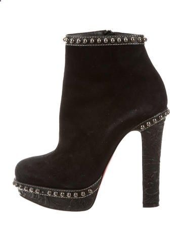71f01b455cd0 Christian Louboutin Suede Embellished Ankle Boots