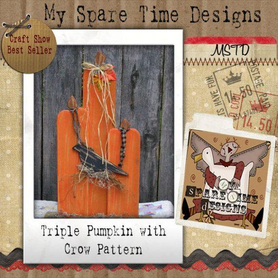Wooden Pumpkin Pattern Primitive Halloween by MySpareTimeDesigns2