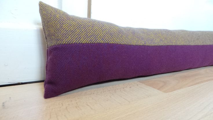 100cm long Purple and Gold Door draught excluder Woven wool fabric by Abraham Moon Handmade Filled by CowlingCountryCrafts on Etsy