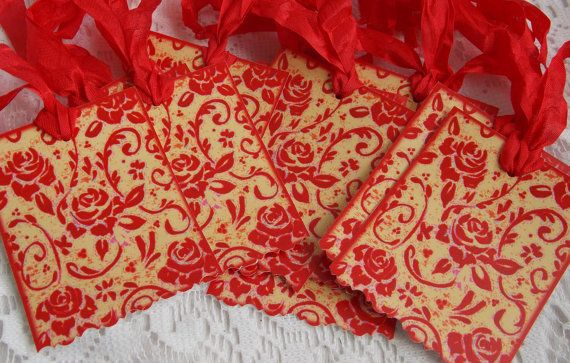 16 Red Toile Hang Tags Victorian Christmas Valentine's Day Wedding Cards