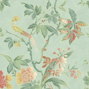 Behang Little Greene Paradise - Archive Trails  Het chinoiserie behang Little Greene Paradise heeft prachtige paradijsvogels die op kleurrijke takken zitten.  Het dessin is een ontwerp uit 1940, ma...