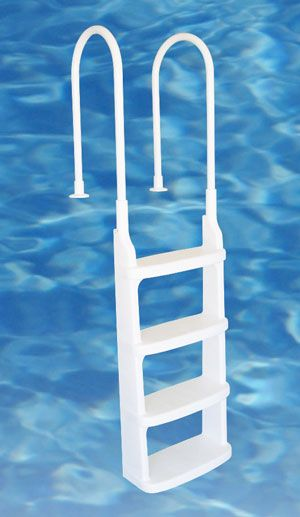 Swimming pool ladder for above ground swimming pools has large comfortable steps to make getting in and out of the pool easier.