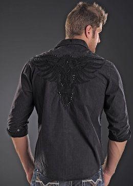 Rock Roll Cowboy Long Sleeve Shirt Westernwear Rhinestones