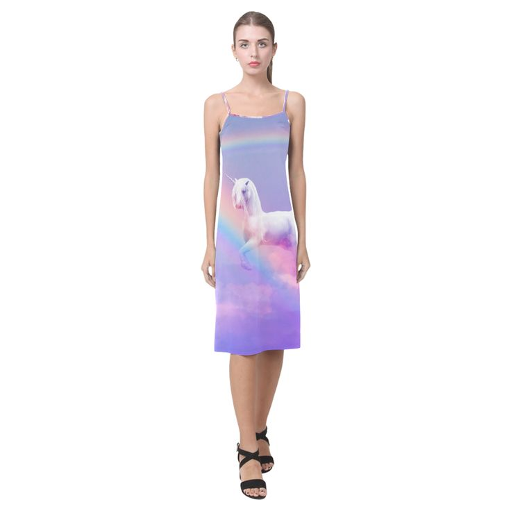 Unicorn and Rainbow Alcestis Slip Dress. Relaxed fit. Material: Made from 92% Polyester, 8% Spandex. Sizes: XS,S,M,L,XL,XXL,XXXL.FREE Shipping. #beoriginalstore #dresses