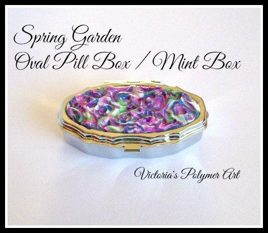 Oval Pill Box / Mint Box Spring Garden  by VictoriasPolymerArt, £6.75