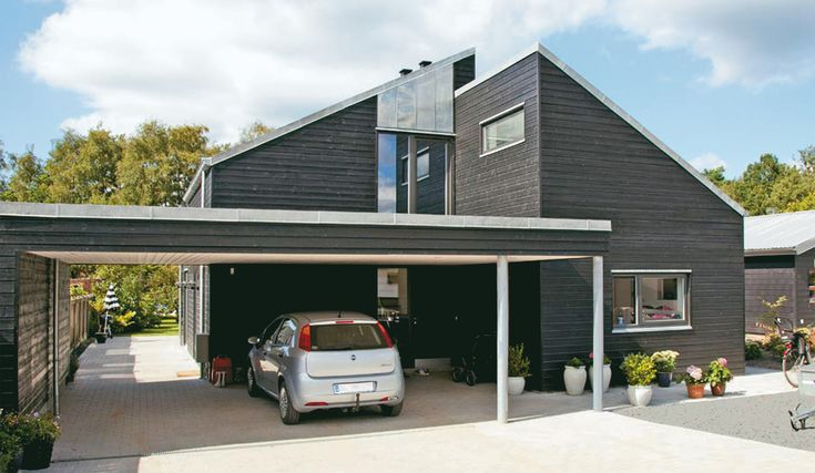 Doppelgarage satteldach modern  Danhaus Fertighaus Holzhaus Fünen ein modernes Design, versetztes ...