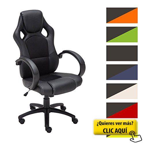 CLP Silla de oficina FIRE. Silla de escritorio con altura regulable 49 - 59 cm. Silla Gaming con diseño deportivo y asiento giratorio 360°. el tapizado de la silla Gaming Fire es de cuero negro #sillon #oficina