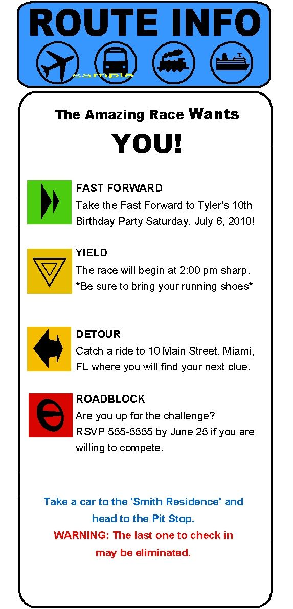 Amazing Race Clue Invitations 60th Birthday PartyGirls